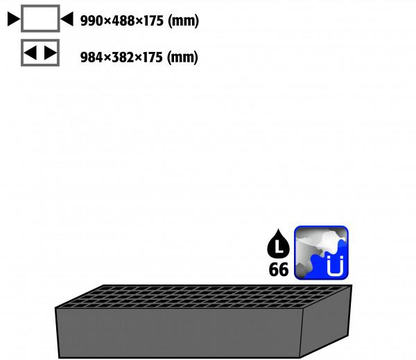 Bodenauffangwanne STAWA-R gross mit Gitterrost (Volumen: 66,00 Liter) für Modell(e): CS mit Breite 1055 mm, Stahlblech verzinkt und lackiert
