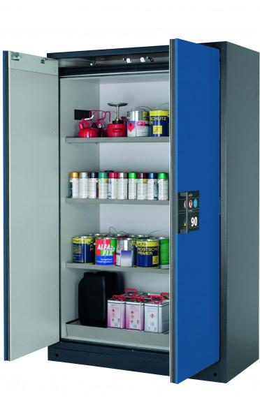 Typ 90 Sicherheitsschrank Q-CLASSIC-90 Modell Q90.195.120 in enzianblau RAL 5010 mit 3x Fachboden Standard (Edelstahl 1.4301)