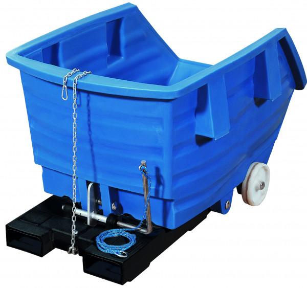 Kippbehälter PE Blau mit Rollen, 750 L, 1650x925x1150, Polyethylen