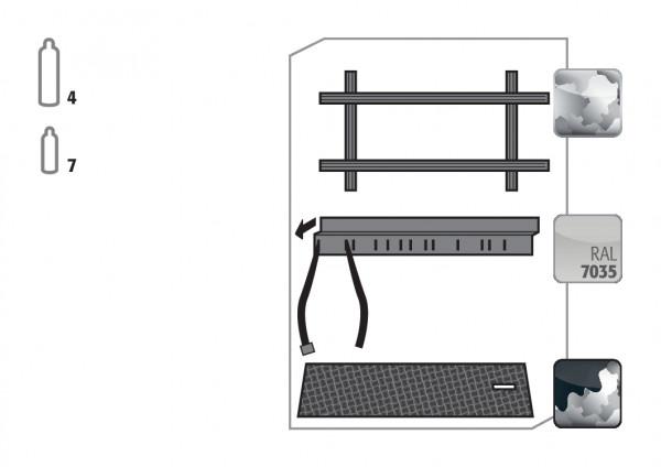 Standardinneneinrichtung Druckgasflaschen für Modell(e): G90 mit Breite 1200 mm, Stahlblech verzinkt und pulverbeschichtet
