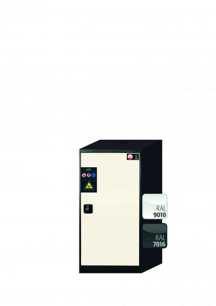Chemikalienschrank CS-CLASSIC Modell CS.110.054.R in reinweiss RAL 9010 mit 2x Tablarauszug AbZ (Stahlblech/Polypropylen)