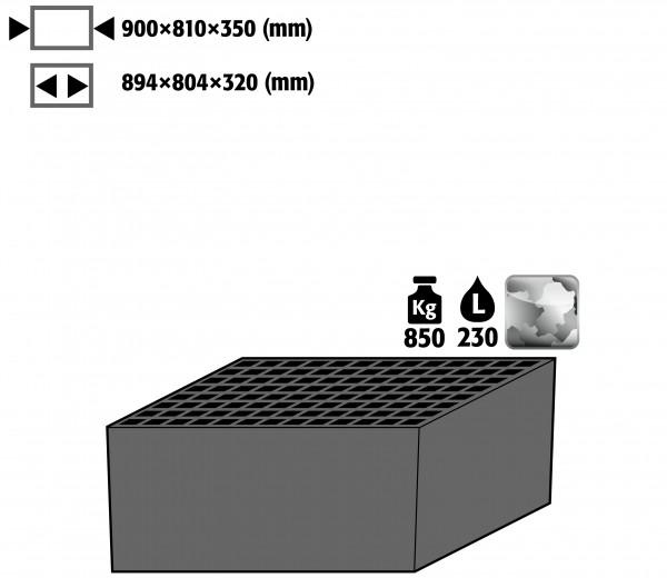 Bodenauffangwanne mit Gitterrost (Volumen: 230,00 Liter) für Modell(e): XL90 mit Breite 1105 mm, Stahlblech verzinkt
