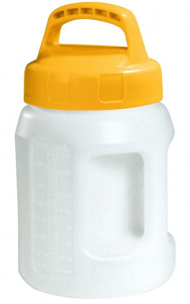 Öl-Kanne aus HDPE 2 Liter mit gelbem Lagerdeckel, Polyethylen (high density)