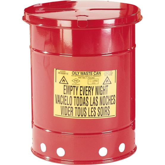 Entsorgungsbehälter, 80 L, rot, Fusspedal, Stahlblech verzinkt und lackiert