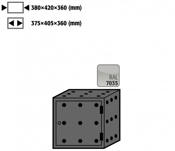 Lagerbox Türanschlag rechts für Modell(e): S90 mit Breite 600, 900 u.1200 mm, Stahlblech pulverbeschichtet glatt