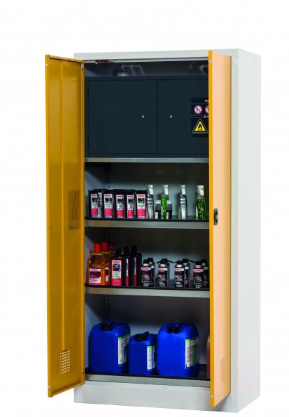 Chemikalienschrank mit Typ-30-Sicherheitsbox CF-CLASSIC-F Modell CF.195.095.F:0005 in sicherheitsgelb RAL 1004 mit 3x Wannenboden Standard (Stahlblech), Stahlblech pulverbeschichtet glatt