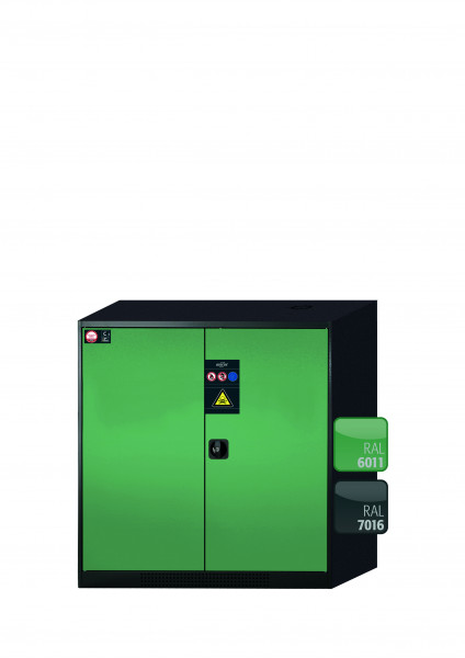 Chemikalienschrank CS-CLASSIC Modell CS.110.105 in resedagrün RAL 6011 mit 3x Tablarauszug AbZ (Stahlblech/Polypropylen)