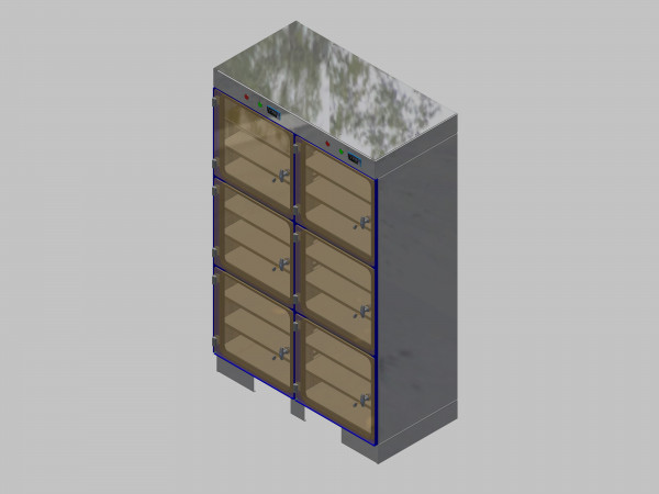 Trockenlagerschrank-ITN-1200-6 mit 3 Tablaren und Regelung der Schrankatmosphäre pro Vertikalkompartiment und Sockelausführung unterfahrbar mit Stellfüssen