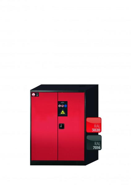 Chemikalienschrank CS-CLASSIC Modell CS.110.081 in verkehrsrot RAL 3020 mit 2x Tablarauszug AbZ (Stahlblech/Polypropylen)