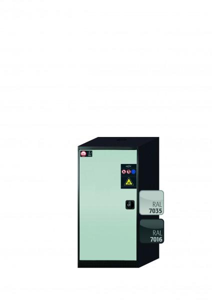 Chemikalienschrank CS-CLASSIC Modell CS.110.054 in lichtgrau RAL 7035 mit 3x Tablarauszug AbZ (Stahlblech/Polypropylen)