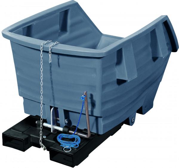 Kippbehälter PE Grau ohne Rollen, 500 L, 1530x790x960, Polyethylen
