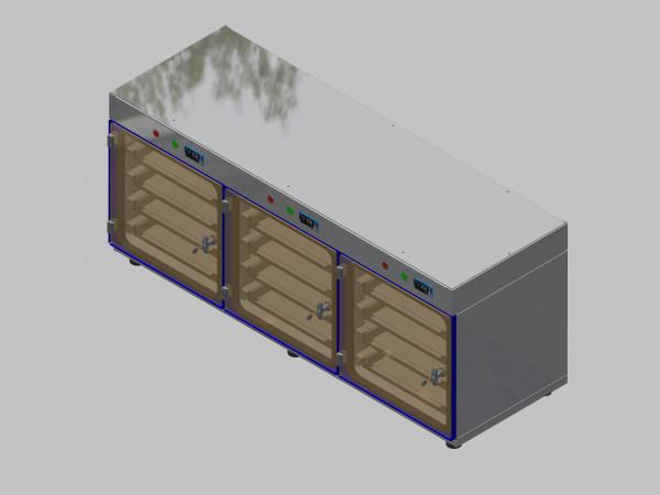 Trockenlagerschrank-ITN-1800-3 mit 4 Schubladen und Regelung der Schrankatmosphäre pro Vertikalkompartiment und Sockelausführung mit Stellfüssen
