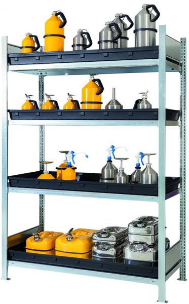 Gefahrstoffregal Typ RSW mit 4 Wannen (36 L) 1360x640x2000, Stahl verzinkt