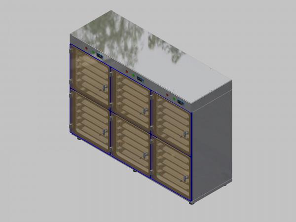 Trockenlagerschrank-ITN-1800-6 mit 6 Schubladen und Regelung der Schrankatmosphäre pro Vertikalkompartiment und Sockelausführung mit Stellfüssen