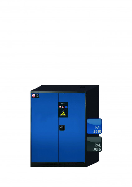 Chemikalienschrank CS-CLASSIC Modell CS.110.081 in enzianblau RAL 5010 mit 2x Tablarauszug AbZ (Stahlblech/Polypropylen)