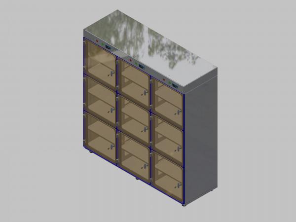 Trockenlagerschrank-ITN-1800-9 mit 2 Tablaren und Regelung der Schrankatmosphäre pro Vertikalkompartiment und Sockelausführung mit Stellfüssen