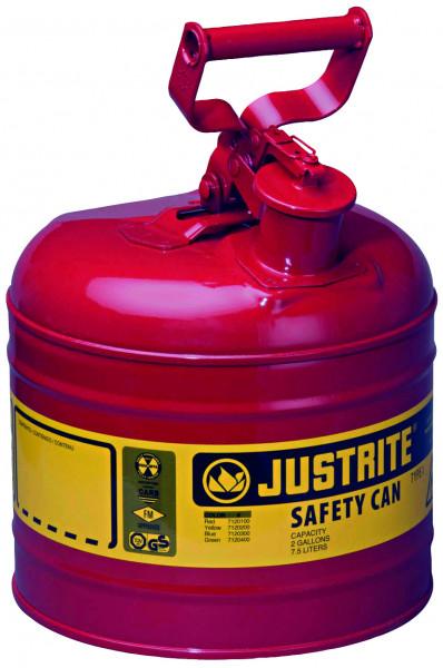 Sicherheitsbehälter Stahlblech pulverbeschichtet Rot, Inhalt: 7,5 Liter, Stahlblech pulverbeschichtet glatt