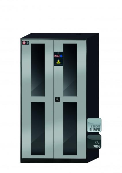 Chemikalienschrank CS-CLASSIC-G Modell CS.195.105.WDFW in asecos Silber mit 5x Tablarauszug AbZ (Stahlblech/Polypropylen)