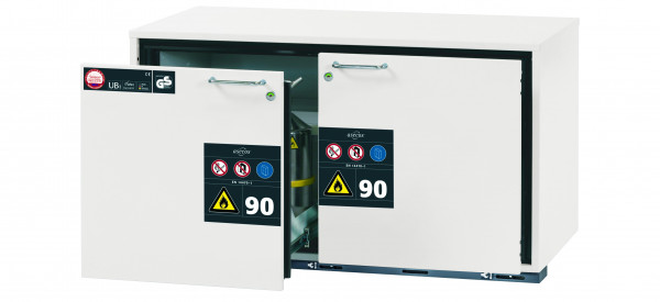 Typ 90 Sicherheitsunterbauschrank UB-S-90 Modell UB90.060.110.2S in laborweiss (ähnl. RAL 9016) mit 2x Schubladenwanne STAWA-R (Edelstahl 1.4301)