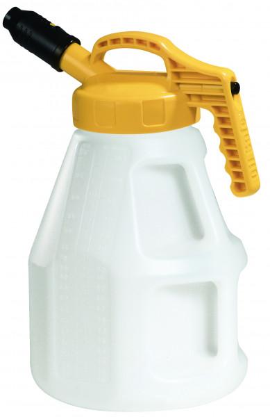 Öl-Kanne aus HDPE 10 Liter mit gelbem Deckel und kurzer Auslauftülle, Polyethylen (high density)