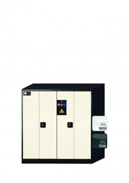 Chemikalienschrank CS-PHOENIX Modell CS.110.105.FD in reinweiss RAL 9010 mit 2x Tablarauszug AbZ (Stahlblech/Polypropylen)