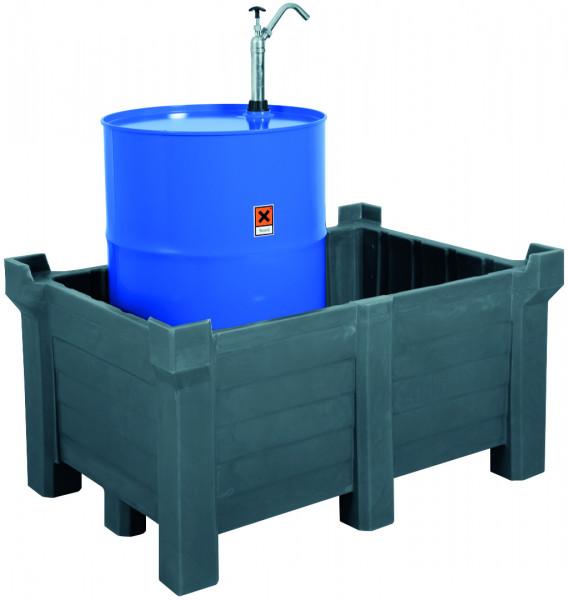 Stapelbehälter PE Grau geschlossen, 300 L, 800x600x1200, Polyethylen