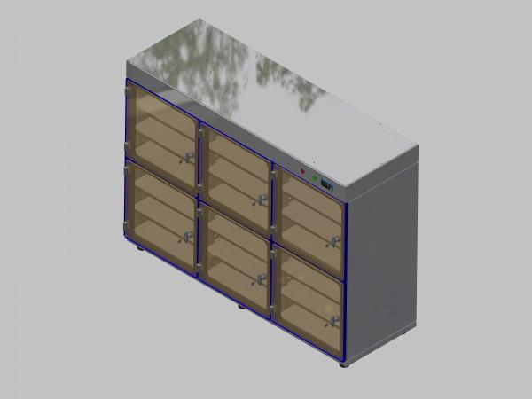 Trockenlagerschrank-ITN-1800-6 mit 3 Tablaren und Regelung der Schrankatmosphäre pro Schrank und Sockelausführung mit Stellfüssen