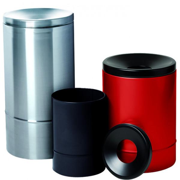 Selbstlöschender Papierkorb, 15 Liter, Schwarz/Schwarz, Stahl pulverbeschichtet glatt