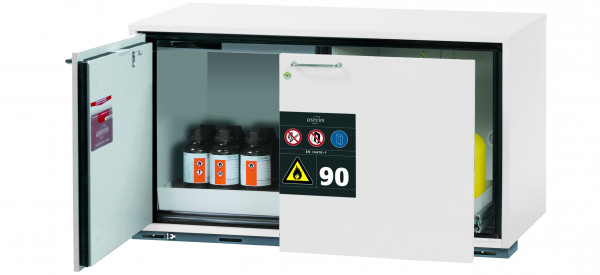 Typ 90 Sicherheitsunterbauschrank UB-ST-90 Modell UB90.060.110.ST in laborweiss (ähnl. RAL 9016) mit 1x Lochblecheinsatz Standard (Stahlblech)