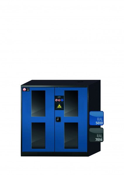 Chemikalienschrank CS-CLASSIC-G Modell CS.110.105.WDFW in enzianblau RAL 5010 mit 3x Tablarauszug AbZ (Stahlblech/Polypropylen)