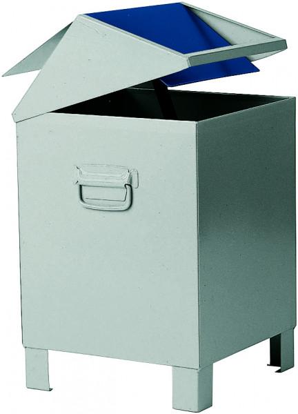 Entsorgungsbehälter aus Stahlblech (grau/blau), 73 Liter, Stahlblech lackiert