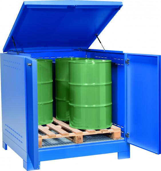 Depot unterfahrbar Stahlblech mit verzinktem Gitterrost 1425x1350x1480, Stahlblech lackiert