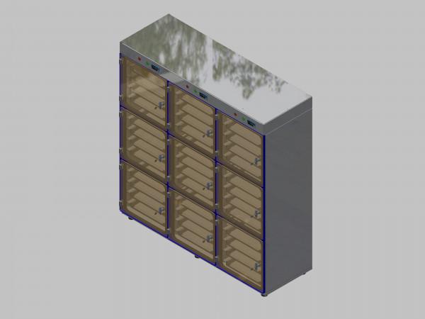 Trockenlagerschrank-ITN-1800-9 mit 4 Schubladen und Regelung der Schrankatmosphäre pro Vertikalkompartiment und Sockelausführung mit Stellfüssen