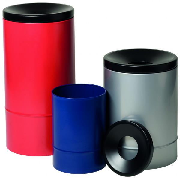 Selbstlöschender Papierkorb, 50 Liter, Rot/Schwarz, Stahl pulverbeschichtet glatt