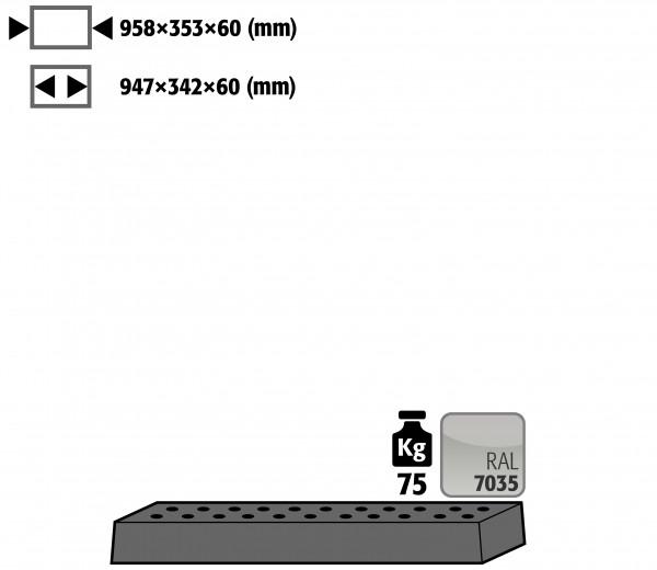 Lochblecheinsatz Standard für Modell(e): UB90 mit Breite 1100 T=500 mm, Stahlblech pulverbeschichtet glatt