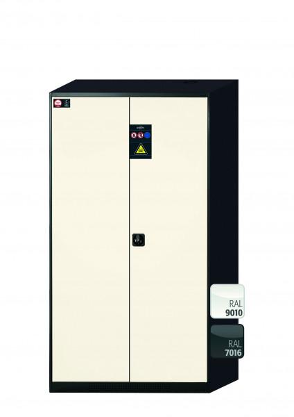 Chemikalienschrank CS-CLASSIC Modell CS.195.105 in reinweiss RAL 9010 mit 5x Tablarauszug AbZ (Stahlblech/Polypropylen)