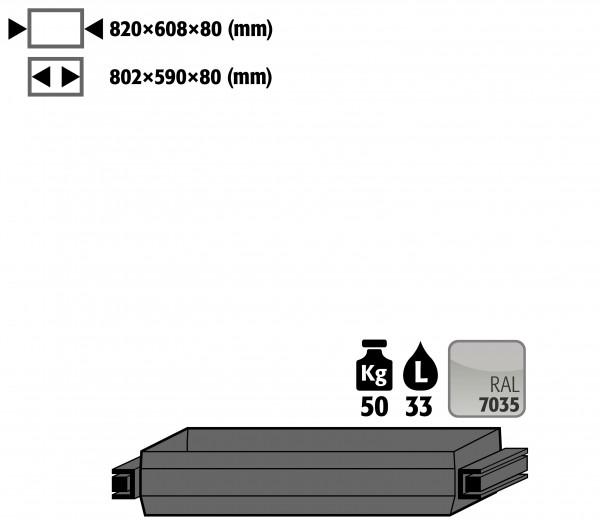 Auszugswanne STAWA-R (Volumen: 33,00 Liter) für Modell(e): UB90 mit Breite 1100 mm, Stahlblech pulverbeschichtet glatt