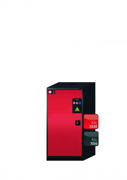 Chemikalienschrank CS-CLASSIC Modell CS.110.054 in verkehrsrot RAL 3020 mit 3x Tablarauszug AbZ (Stahlblech/Polypropylen)