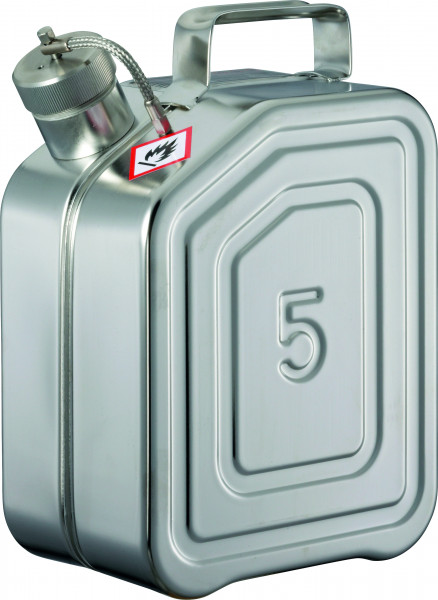 Transportkanister Edelstahl (1.4571), Inhalt: 5 Liter, Edelstahl 1.4301 poliert