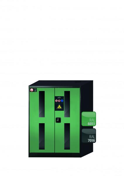 Chemikalienschrank CS-CLASSIC-G Modell CS.110.081.WDFW in resedagrün RAL 6011 mit 2x Tablarauszug AbZ (Stahlblech/Polypropylen)