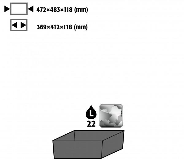 Bodenauffangwanne STAWA-R für Schränke mit Mitteltrennwand vertikal (Volumen: 22,00 Liter) für Modell(e): CS mit Breite 1055 mm, Stahlblech verzinkt