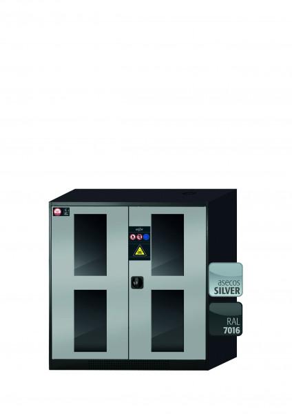 Chemikalienschrank CS-CLASSIC-G Modell CS.110.105.WDFW in asecos Silber mit 2x Tablarauszug AbZ (Stahlblech/Polypropylen)
