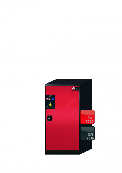 Chemikalienschrank CS-CLASSIC Modell CS.110.054.R in verkehrsrot RAL 3020 mit 3x Tablarauszug AbZ (Stahlblech/Polypropylen)