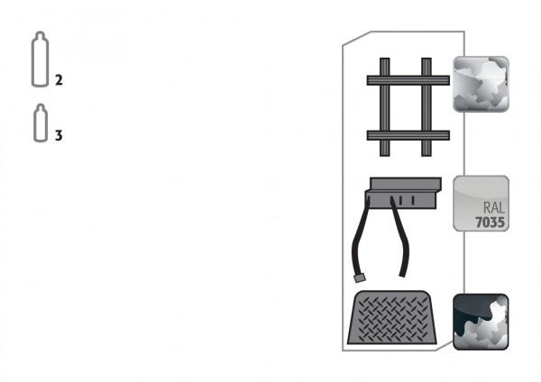 Standardinneneinrichtung Druckgasflaschen für Modell(e): G30 mit Breite 600 mm, Stahlblech verzinkt und pulverbeschichtet