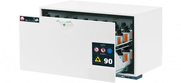 Typ 90 Sicherheitsunterbauschrank UB-S-90 Modell UB90.060.110.S in laborweiss (ähnl. RAL 9016) mit 1x Schubladenwanne STAWA-R (Stahlblech)