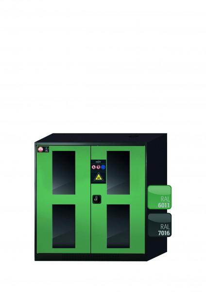 Chemikalienschrank CS-CLASSIC-G Modell CS.110.105.WDFW in resedagrün RAL 6011 mit 2x Tablarauszug AbZ (Stahlblech/Polypropylen)