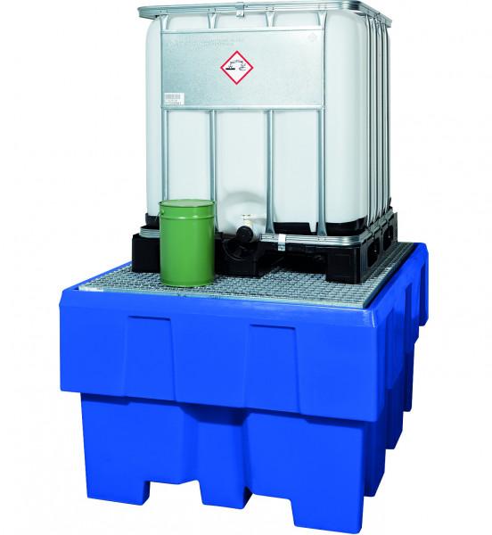 IBC-Station unterfahrbar PE mit verzinktem Gitterrost 1280x1660x870, Polyethylen