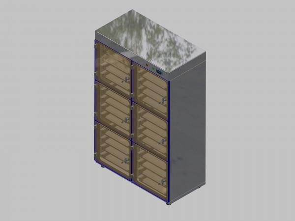 Trockenlagerschrank-ITN-1200-6 mit 4 Schubladen und Regelung der Schrankatmosphäre pro Schrank und Sockelausführung mit Stellfüssen
