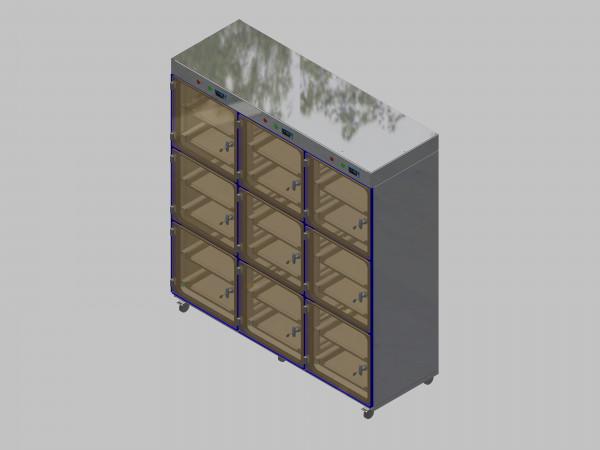Trockenlagerschrank-ITN-1800-9 mit 2 Schubladen und Regelung der Schrankatmosphäre pro Vertikalkompartiment und Sockelausführung mit Rollen
