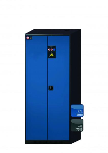 Chemikalienschrank CS-CLASSIC Modell CS.195.081 in enzianblau RAL 5010 mit 6x Tablarauszug AbZ (Stahlblech/Polypropylen)